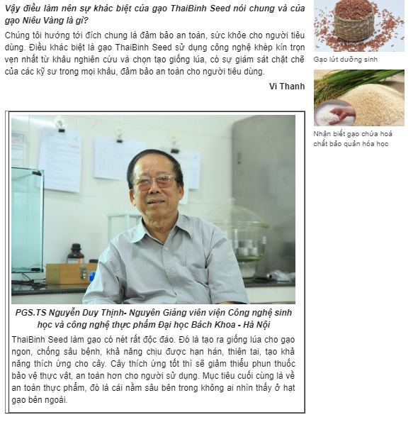 Chuyện người doanh nhân gần thất thập đi ngược mọi ngăn cản để làm gạo sạch bao-chi-noi-ve-nieu-vang